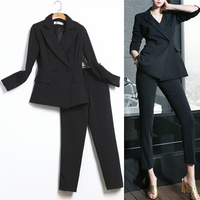 White suit female Korean fashion ladies Real Slim Blazer Suit Set Two Piece Trousers + Blazers 2PC Female Sets Pants