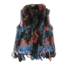 Harppihop*natural real rabbit fur vest with raccoon collar waistcoat/jackets multicolor knitted winter for women