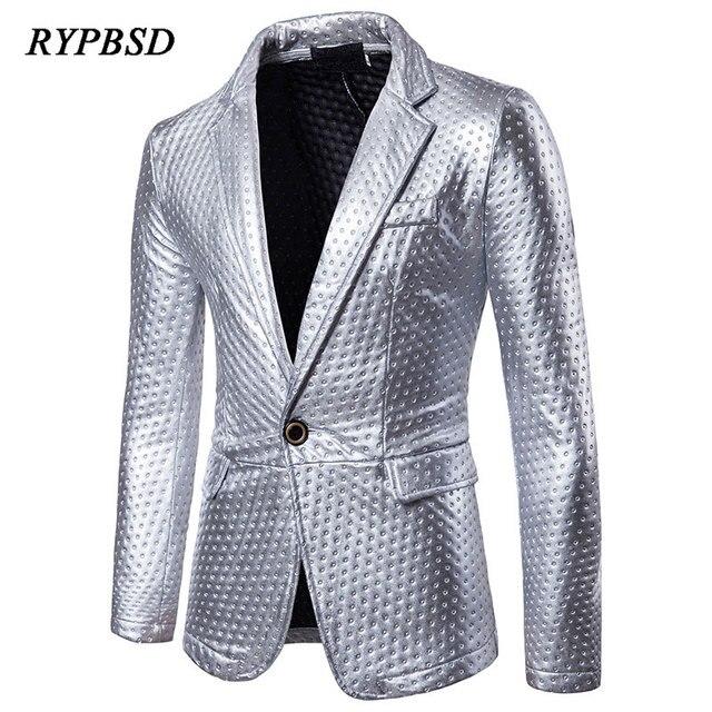 Hombres blazer 2018 moda dot imprimir praty funcionamiento oro plata brillante  Lentejuelas blazer chaqueta hombres slim 79f4611186b