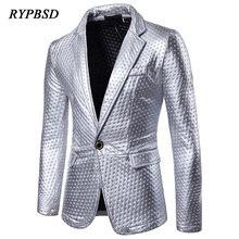 Men Blazer 2019 Fashion Dot Print Praty Performance Nightclub Gold Silver Shiny Sequins Jacket Slim Fit homme