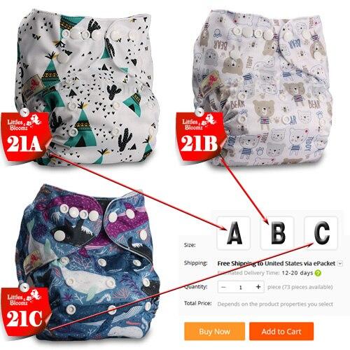 [Littles& Bloomz] Детские Моющиеся Многоразовые Тканевые карманные подгузники, выберите A1/B1/C1 из фото, только подгузники/подгузники(без вставки - Цвет: 21