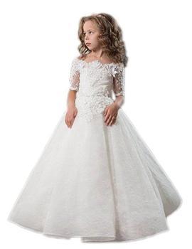 Lace Flower Girls Dresses for Weddings Off Shoulder Princess Communion Graduation Dress  Toddler Pageant Dresses