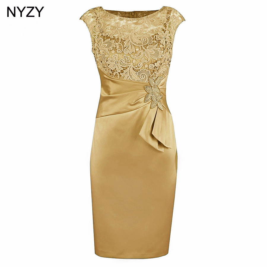 NYZY M3H 2019 Dress Party Lace Formal Dress Gold Robe Cocktail Dresses