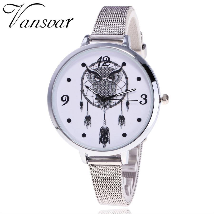 Vansvar Brand New Fashion Silver Band Women Dreamcatcher Wrist Watch Casual Quartz Watches Gift Relogio Feminino V08 mance h 8 color new fashion brand women watch fashion dreamcatcher watch ladies quarzt watches relogio feminino