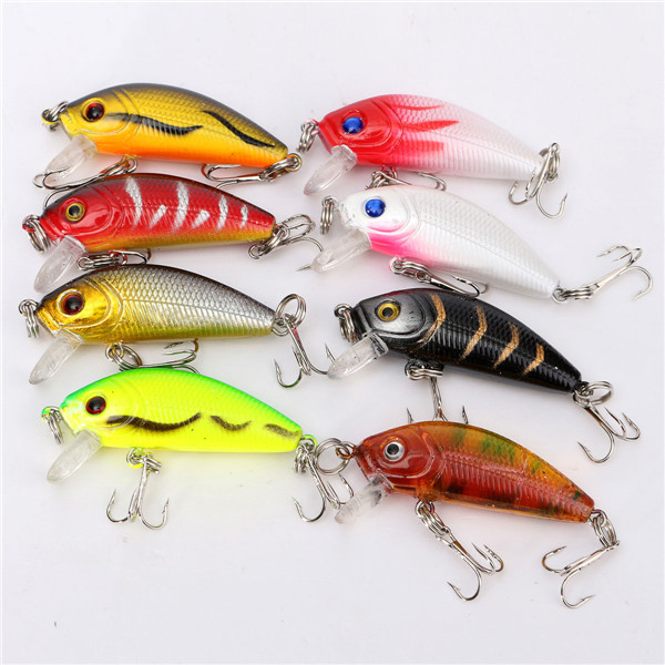 NEW 1 pack of 8pcs/lot fishing lures 5CM/3.6G carp Artificial bait wobbler fish minnow bass lure crankbait trout tackle hook 1 pack clean dry maggots for fishing high protein nutritious fish bait food winter carp fishing baits