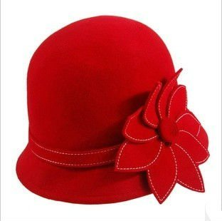 womens caps for winter autumn, ladies 100% wool fedora hat, christmas gifts 2012, red black cloche