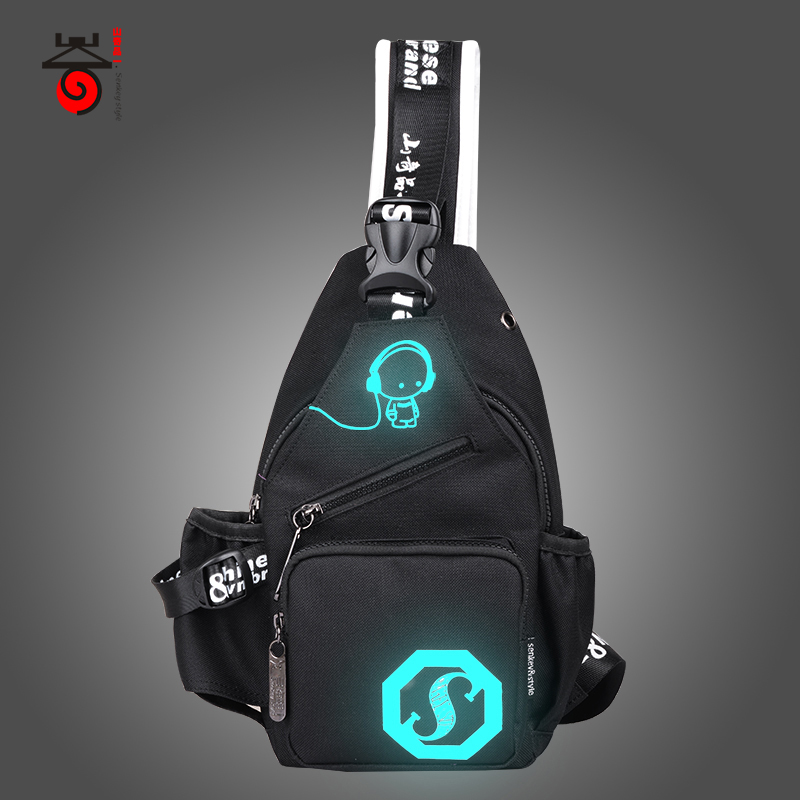 Senkey style 2018 Fashion Luminous Men's Chest Pack Women Messenger Bag Teenagers Mens Shoulder Bags Casual Men's Travel Bags цена