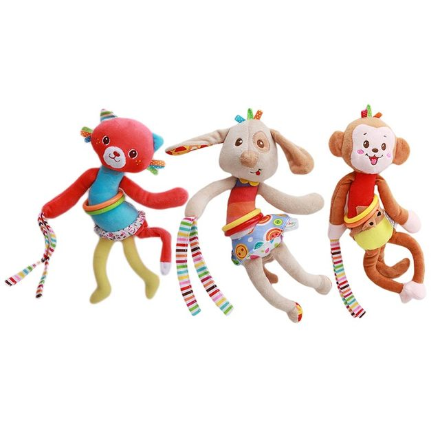 Monkey Animal Baby Soft Toy Ring Bell Plush Rattle Squeaker Cute