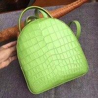 100% genuine real crocodile belly skin women backpack bag, matt alligator skin small lady backpack daily bag strap top handles