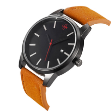 Brand wristwatches fashion New Arrival Simple style calendar casual men watches High quality leather strap quartz watch 3 colors