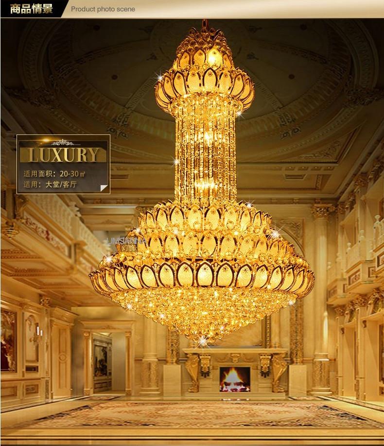 Candelier Kristal LED Moden Emas Lotus Bunga Candelier Pencahayaan - Pencahayaan dalaman - Foto 3
