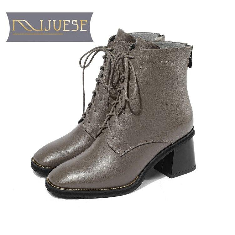 MLJUESE 2019 femmes cheville bottes en cuir de Vache gris couleur dentelle jusqu'à l'hiver au chaud fourrure bottes femmes haute talons femmes bottes taille 33-43