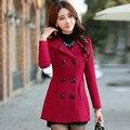 Новая осень и зима женщины повседневная шерстяные пальто женщин Корейский стиль пальто с двубортный теплое пальто CT159