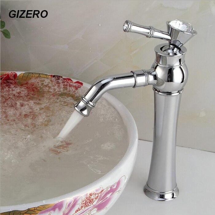 Robinets de salle de bain de luxe de haute qualité mélangeur de comptoir de bassin en cristal chromé avec bec pivotant chaud et froid Torneira ZR606