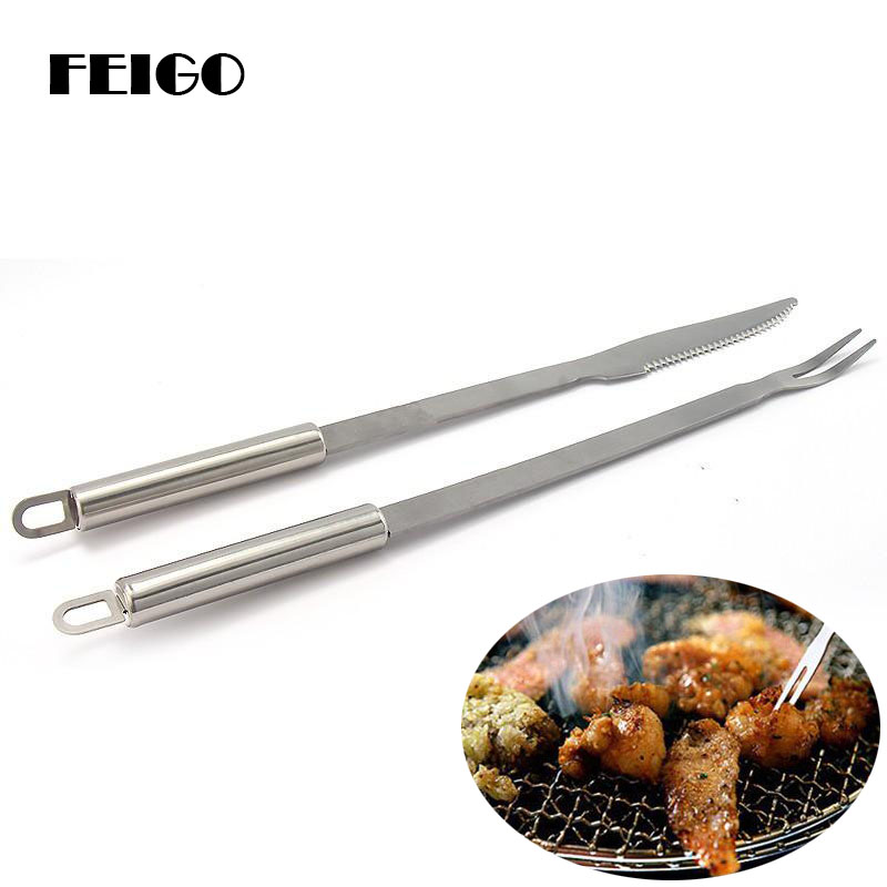 FEIGO 32cm Long Handle 2Pcs/set Large Stainless Steel Brazilian-Style BBQ Skewers Barbecue Fork Knife Turkish Grills Skewer F358