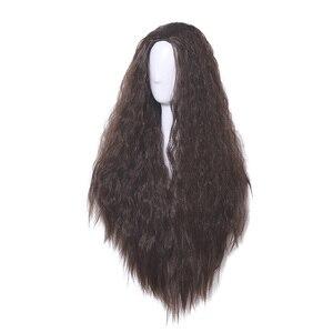 Image 3 - L email peluca Moana para Cosplay, peluca de Cosplay de princesa, rizado largo, marrón oscuro, cabello sintético resistente al calor para Halloween
