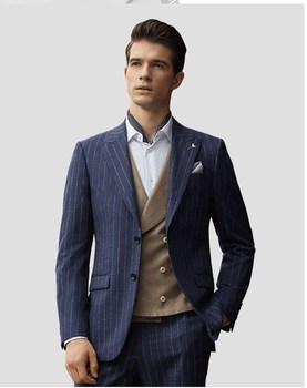 Latest Design Two Buttons Blue Strips Groom Tuxedos Peak Lapel Groomsmen Mens Wedding Prom Suits (Jacket+Pants+Vest+Tie) NO:187
