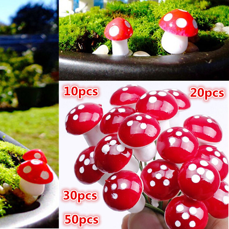 Hot! New 10Pcs-50Pcs 2cm Artificial Mini Mushroom Miniatures Fairy Garden Moss Terrarium Resin Crafts Stakes Craft Garden Decor