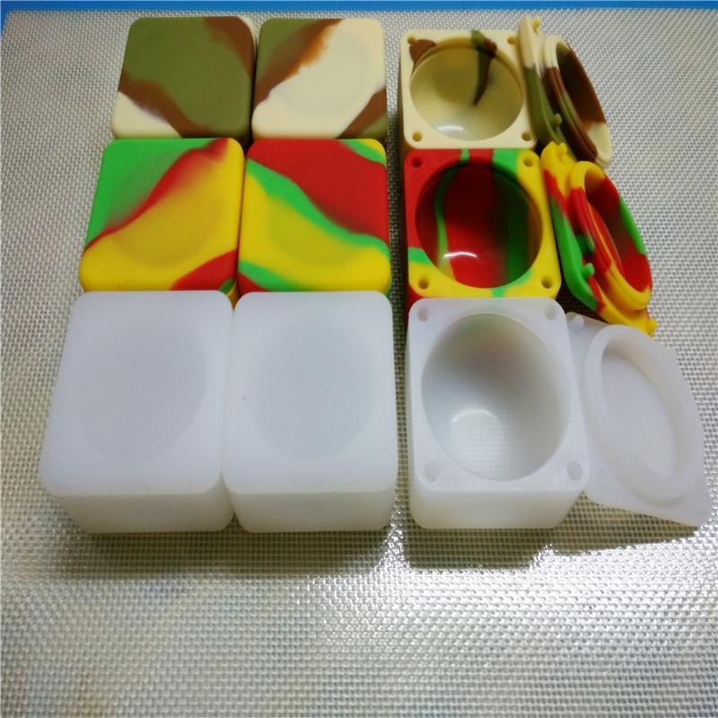 Wholesale Square Non-stick Silicone Rubber Container Bho Silicone Box Tub Jar Wax 37 Ml Cosmetic Jars