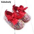 Primavera Nuevo Diamante Zapatos Del Niño Del Bebé Zapatos de La Princesa Flores Impreso Elástico WMC605 Zapato de Bebé Zapatos de Niño Bebé Femenino