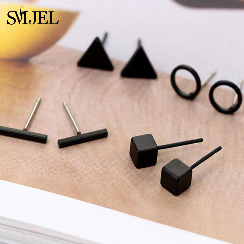 SMJEL Small Round Triangle Stud Earring For Women Geometric Bar Ear Earrings Black Jewelry 4 Pairs Wholesale Fashion Earing