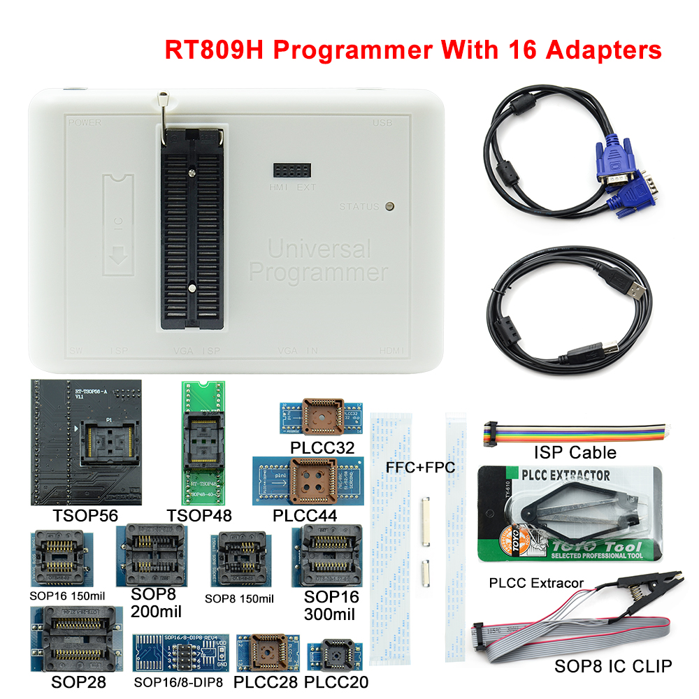 2019 Newest RT809H EMMC Nand FLASH Programmer 16 Adapters With Cables EMMC Nand Free shipping