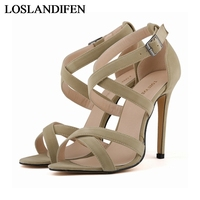 Elegant High Quality Gladiator Sandals Womens Summer Thin High Heels Shoes 2018 Women Black Sandal Pumps