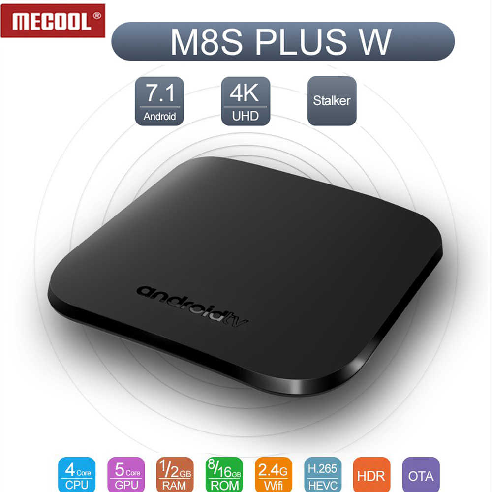 Mecool M8S Plus W Android 7.1 Smart TV Box Amlogic 905W 2.4G WIFI 1G/2G 8G/16G IP TV Ultra HD Set Top Box 4K Media Player