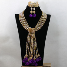 Luxury Champagne African Bead Jewelry Set Purple Ball Arabic Indian Bridal Jewelry Sets Free Shipping QW580