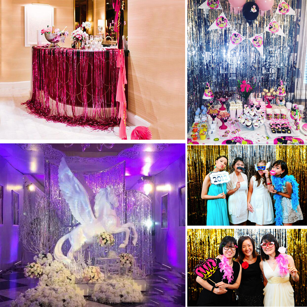 Foil Metallic Fringe Tinsel Curtain Tassel Garland Wedding Birthday Party 1*2M