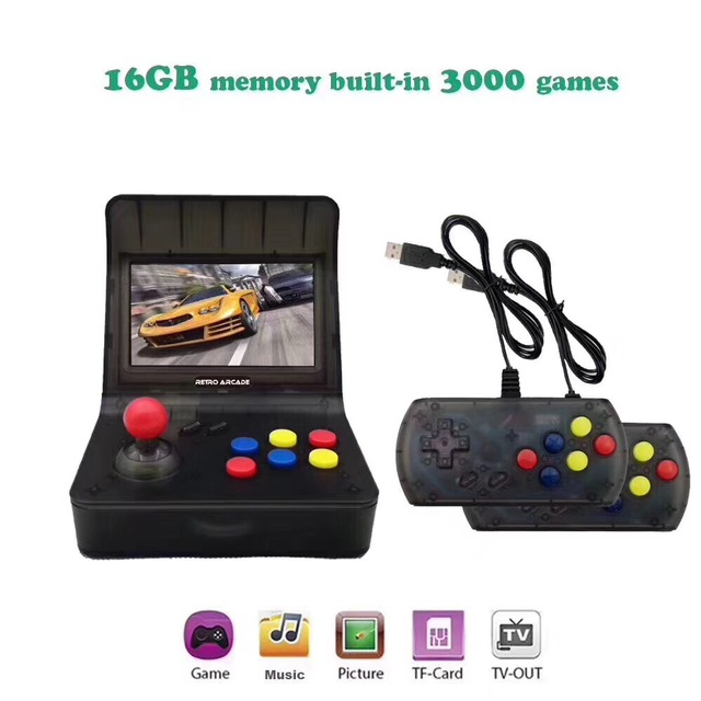 Retro Video Game Player Portable Mini Handheld Game Console 4.3 Inch 64bit With 3000 Classic Games Dual Gamepads Controls