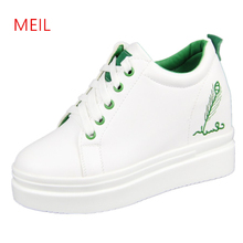 Increase 9CM Stylish White Sneakers Women High Platform Shoes Fashion Slimming Wedges for Espadrille Femme Ete 2019