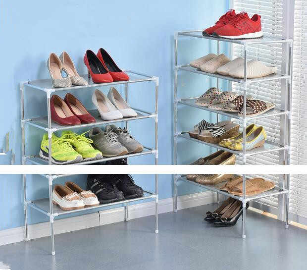 074b788984a New arrival DIY Non-woven Shoe Display Shelf fashion Galvanized Pipe Shoe  Storage Cabinet Rack