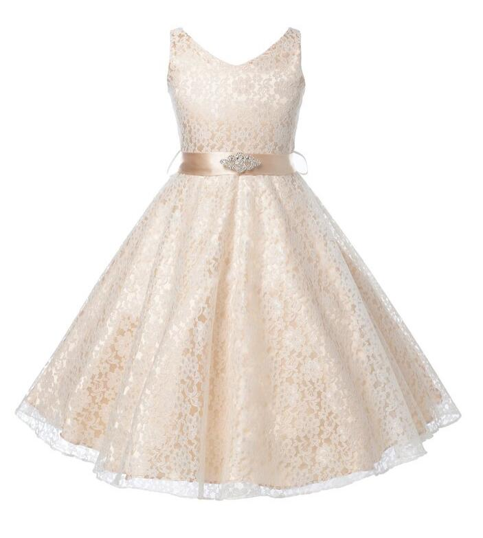 A-Line Flower Girls Dresses For Wedding Gowns Lace Party Dress Knee-length Holy Communion Dresses Long Mother Daughter Dresses new white ivory nice spaghetti straps sequined knee length a line flower girl dress beautiful square collar birthday party gowns