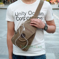 Unisex Cotton Canvas Casual Travel Shoulder Cross Body  Messenger Unbalance Sling Chest Bag
