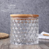 Embossed glass seal canister thickened coloured large glass storage bottle food storage box dried fruit coffee cans Tea canister