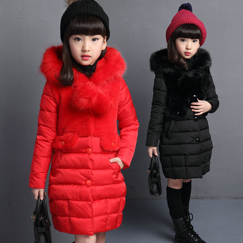 2018 New Winter Big Girls Warm Thick Jacket Outwear Clothes Cotton Padded Kids Teenage Coat Children Faux Fur Hooded Parkas P28 new 2017 winter cotton coat women slim outwear medium long padded jacket thick fur hooded wadded warm parkas winterjas cm1634