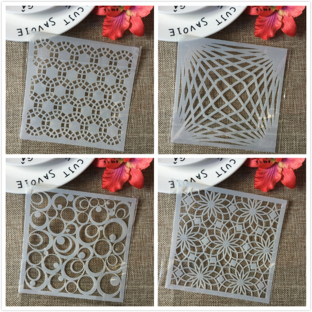 4Pcs/Set 13cm Circle Bubble Round Flower Eye DIY Layering Stencils Painting Scrapbook Coloring Embossing Decorative Template