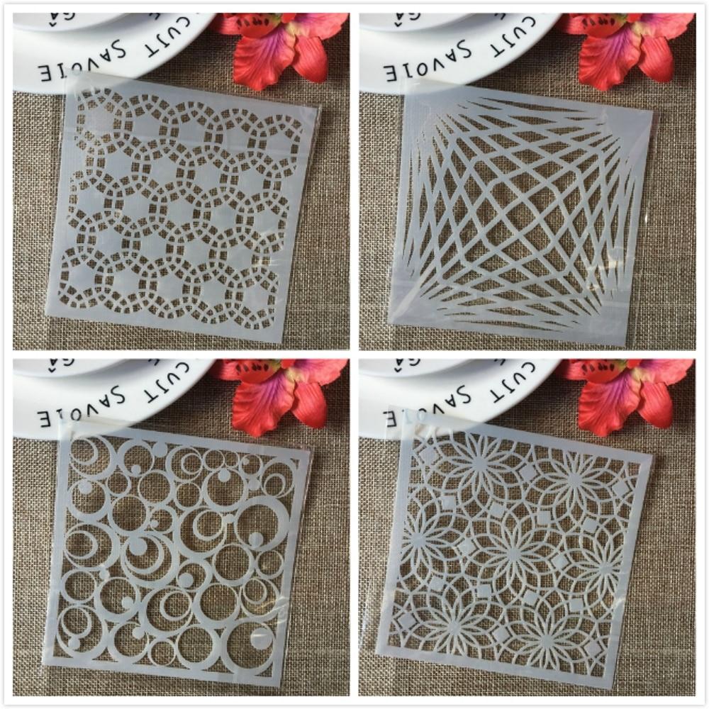 4Pcs/Set 13cm Circle Bubble Round Flower Eye DIY Layering Stencils Painting Scrapbook Coloring Embossing Decorative Template
