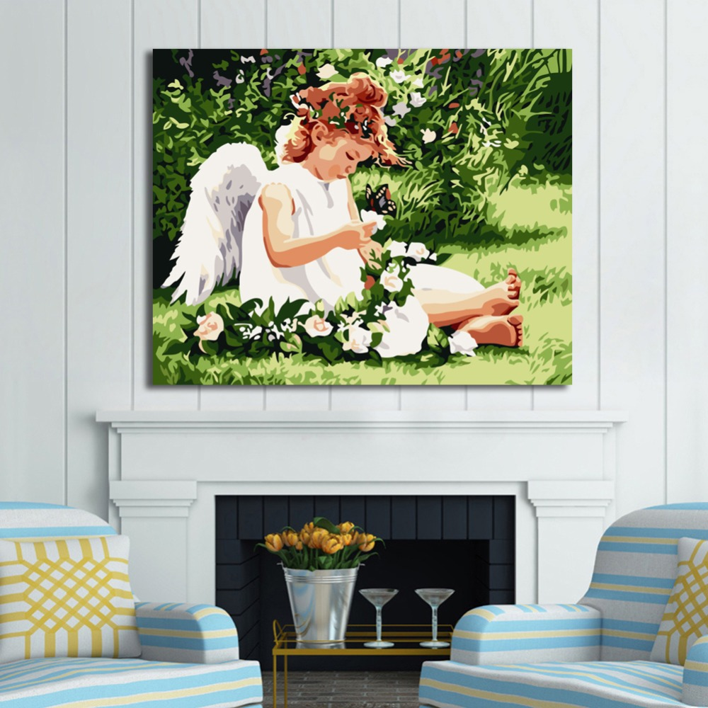 RIHE DIY Oil Painting By Numbers Little Girl Angel kid Home Decor Canvas Painting Modern Wall Art living room Acrylic Paint in Painting Calligraphy from Home Garden