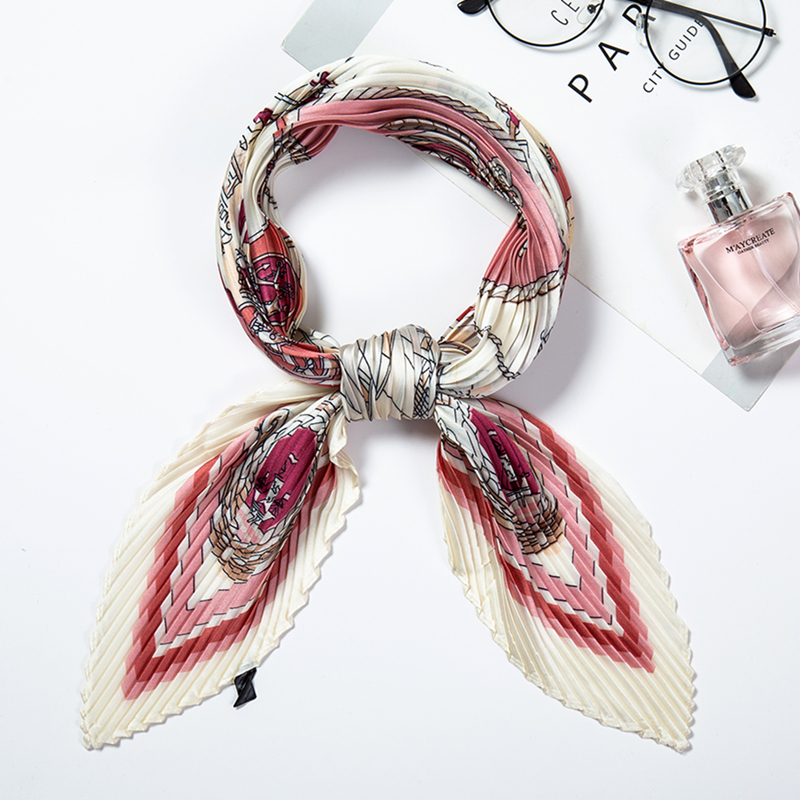 Designer Square Crinkle Scarf Women Silk Hair Neck Scarfs Pleated Lady Foulard Head Band Print Shawl