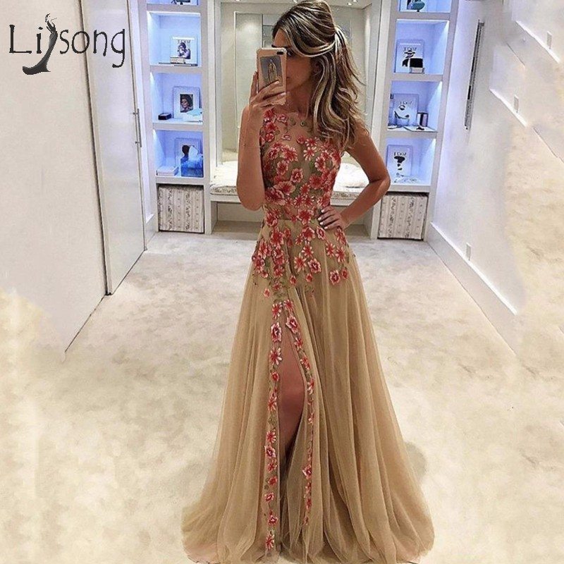 Pretty Champagne Tulle   Evening     Dresses   With Delicate Appliques Sexy Long   Evening   Gowns Side Split Robe De Soiree Abiye Gowns