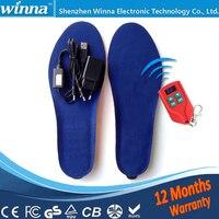 NEW USB MEN INSOLES Electric Foot Warmer Remote Control Thermal Insoles 2000mAh Men S 41 46