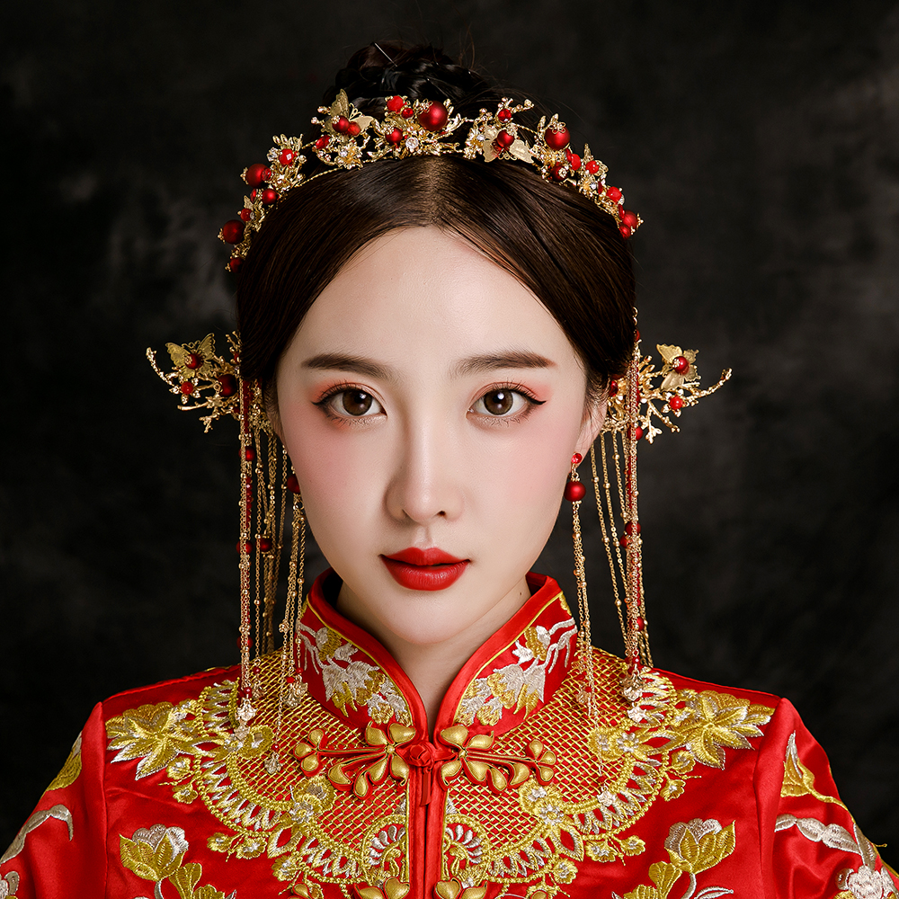New Chinese Classical Bride Headdress Red Simulated Pearl Hair Step Long Drop Earrings Orient Bridal Wedding Coronet Accessories 03 red gold bride wedding hair tiaras ancient chinese empress hat bride hair piece