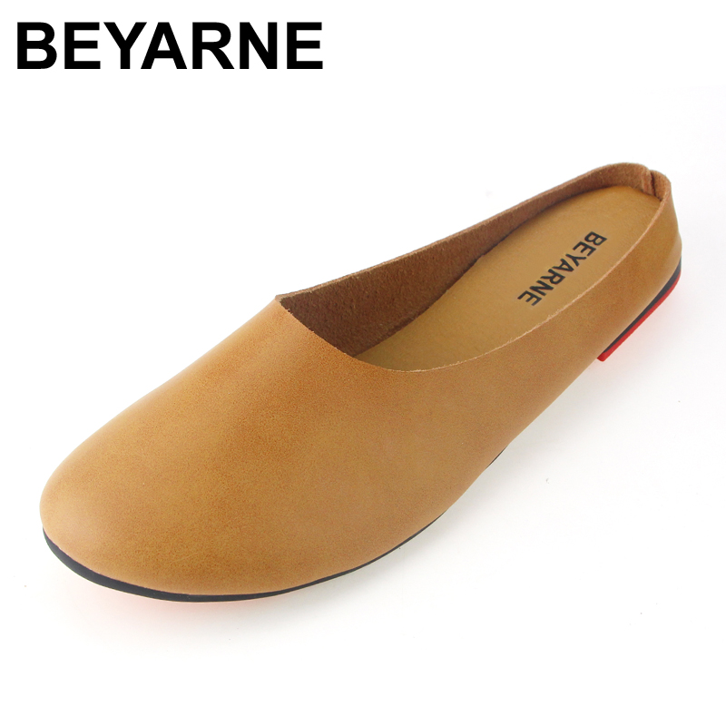 BEYARNE Big Size Size 35 43 2017 Summer New Leather Slippers Female Original Retro Art Handmade