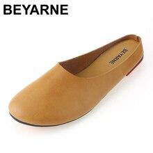 Beyarne большой размер Размеры 35–43 Лето 2017 г. новые кожаные шлепанцы женские оригинальный ретро Art обувь ручной работы с круглым женская обувь на плоской подошве