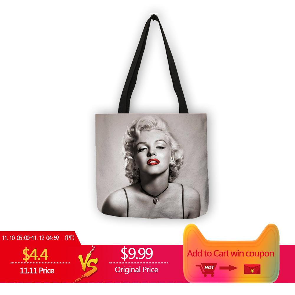 Customized Famous Marilyn Monroe Reusable Shopping Bag Eco Linen Bags With Quotes Print Women Fashion Handbags Dropshipping unique customize tote bag eco linen bags with audrey hepburn print reusable shopping bags fashion handbag totes for women
