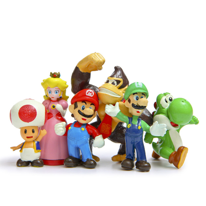 6pcs/set <font><b>Super</b></font> <font><b>mario</b></font> bros 4-7cm <font><b>mario</b></font> Luigi yoshi dinosaur mushroom princess <font><b>orangutans</b></font> <font><b>figure</b></font> <font><b>action</b></font> toy <font><b>PVC</b></font> brother game model