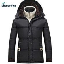 Мужская Новая для женщин пожилого возраста куртка с капюшоном 2017 Мужская корейской высокий толстый хлопок высокого качества ткани Свободные Теплые m-4XL WM49