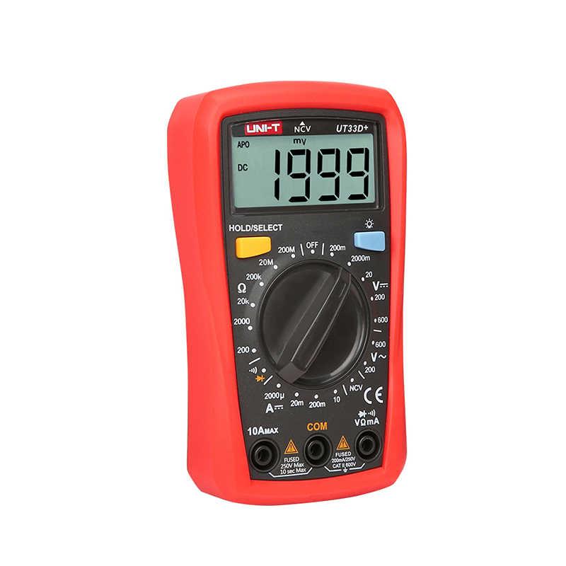UNI-T UT33D + Mini multimètre numérique 600V NCV taille de paume gamme manuelle voltmètre à courant alternatif ampèremètre testeur de capacité de résistance